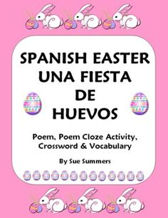 Spanish Easter Poem, Crossword, Cloze Activity & Vocabulary List Follow all our boards at pinterest.com/linguahealth for our latest therapy pins and visit linguahealth.com