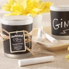 Chalkboard Candle Holders - Chalkboard paint can be used on anything! A candle holder, a vase, a coffee cup...