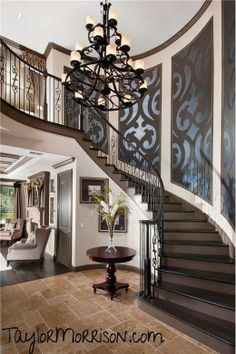 Matte over gloss stencil, large pattern possibly mural up stairway. Gorgeous.