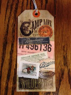 Back side Christibys tag, collage of American rustic life memories.