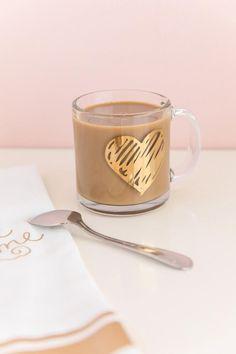 Gold Heart Clear Mug
