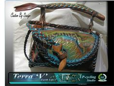 Hand tooled leather purse hand painted with by TerraVStudios, $395.00
