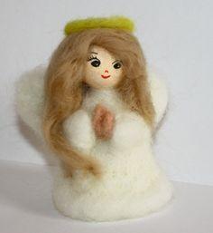 sweet  Angel  needle felted miniature small Christmas by nutkaart