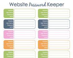 Printable Password Organizer | Username & Password Trackers ...