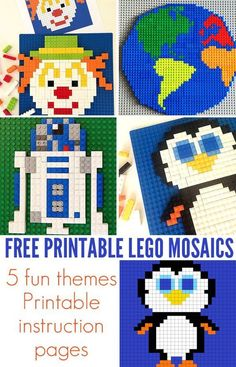 Free Lego Mosaic Printables. 5 fun themes, 15 designs. Each with a printable instruction sheet. Great for school aged kids.