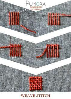 Pumora's embroidery stitch-lexicon: the weave stitch                                                                                                                                                                                 More
