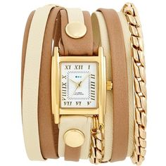Women's La Mer Collections Leather & Chain Wrap Watch, 19Mm (8,620 INR) ❤ liked on Polyvore featuring jewelry, watches, chain jewelry, hand crafted jewelry, wrap watch, handcrafted jewelry and rectangle watches