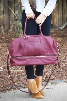 Weekend travel bag with a bottom shoe compartment by @solesociety