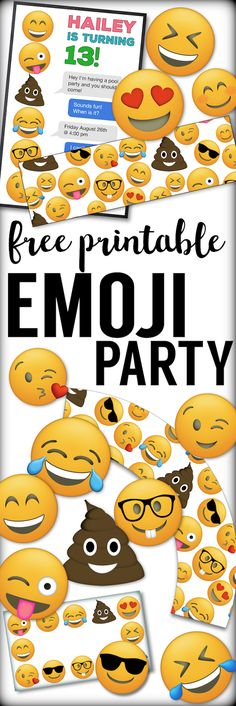 **emoji printable water bottle labels, cupcake toppers, cupcake wrappers, emoji faces, name tags**