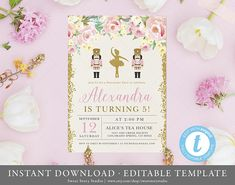 Rosey Nutcracker Birthday Invitation Card