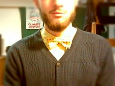 Another style I do have pin: Cardi-bow look; navy and gold