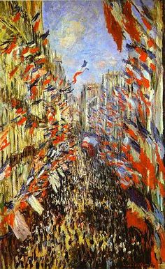 "Claude Monet The Rue Montorgueil, Paris Flags. The Rue Montorgueil was painted by Claude Monet on 30 June 1878 for a festival declared that year by the government celebrating ""peace and victory"". Claude Monet, Post Impressionism, Impressionist Paintings, Monet Paintings, Landscape Paintings, Montorgueil Paris, Artist Monet, Bastille Day, Paris Bastille"