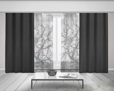 Black and White Curtains, Tree Branches Sheer Window Curtains, Tree Curtains, Nature Home Decor, Opa – Hazir Site