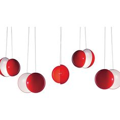 Cherry by Alt Lucialternative is a suspension formed of two semi-spheres fixed onto each other, with the light source fitted in the intersection. The diffuser is made from red plastic on the inside and white on the outside, giving off the light that is uniformly reflected on the additional dishes creating a playful and relaxing atmosphere.  Diffuser: Red-white plexiglas diffuser Light: 1 x max 60W E27, or 1 x max 23W E27  diffuser 30x45 cm  Design:Alessandro Crosera