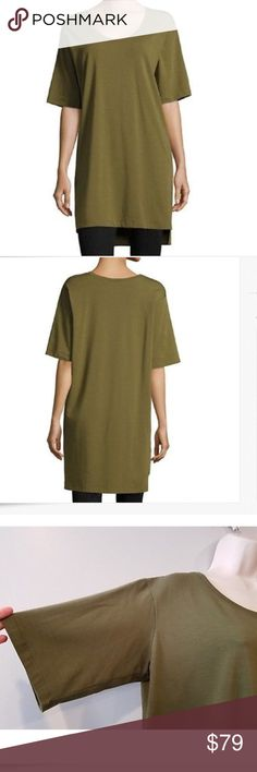 NWT EILEEN FISHER ORGANIC COTTON TUNIC TOP This 100% organic tunic top is beautiful olive color. Extra long shape. Made in USA Eileen Fisher Tops Tunics