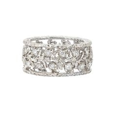 Platinum and Diamond Band Ring, Mario Buccellati   The delicately pierced band ring of stylized garland motif, set with 28 round diamonds, signed M. Buccellati, Italy, approximately 4 dwts.