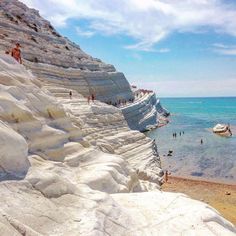 "Sicily, Italy climb the Scala dei Turchi translates to ""stair of the Turks"" due to its stair-like form or enjoy its two surrounding sandy beaches. #Sicilyitaly"