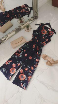 b4e9635d0b Judith Navy   Orange Floral Print Culotte Jumpsuit