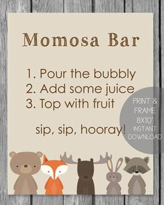 Woodland Animals Printable Momosa Bar Sign - 8x10 Woodland Animals Theme, Woodland Baby, Woodland Creatures, Woodland Critters, Baby Shower Party Supplies, Baby Shower Fun, Baby Shower Parties, Baby Showers, Free Baby Shower Printables