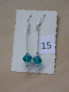 Sterling Silver Earrings with corner drilled deep turquoise glass cube beads and small silver beads