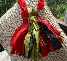 Green Crafted Silk Sari Ribbon Tassel
