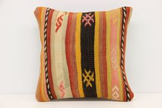 Decorative kilim pillow cover 12x12 inch (30x30 cm) Handmade Kilim pillow cover Room Decor Turkish Pillow cover Stripe Kilim Cushion Cover. Turkish handmade Oriental kilim pillow cover By Kilimwarehouse Size: 12x12 Inches / 30x30 Cm Front side: Vintage Handmade kilim rug, material wool & cotton. Back side: Cotton fabric and hidden zipper. Pillow insert is not included. Only Dry clean. Please note that colors may vary slightly on different computer monitors. Shipment: Fedex worldwide...