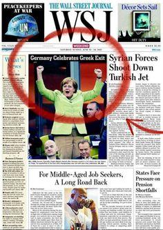 'Alemania celebra la salida de Grecia' - ¿fútbol o política? en la portada de The Wall Street Journal
