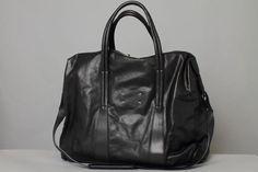 Maison Martin Margiela : Large Black Leather Duffle Bag