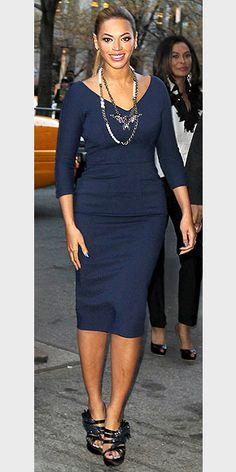 BEYONCÉ'S BLUE SHEATH  You can snag the navy, cotton-blend Victoria Beckham dress B wears on net-a-porter.com