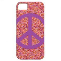 Peach  Purple Paisley iPhone 5 Cases