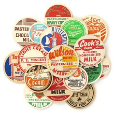 Vintage Milk Caps from Saturday Morning Vintage.