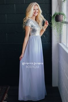 Ice Blue and Silver Sequin Modest Bridesmaids Dress