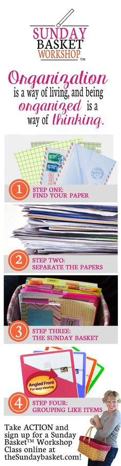 Paper Organization 101 - the Sunday Basket to get your papers organized! at I'm an Organizing Ju Basket Organization, Clutter Organization, Home Office Organization, Paper Organization, Organizing Paperwork, Organizing Your Home, Organizing Tips, Cleaning Tips, Do It Yourself Organization