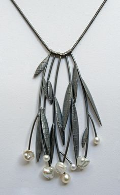 Midnight Prairie Necklace ~~ oxidized sterling silver and pearls. Sydney Lynch Jewelry.