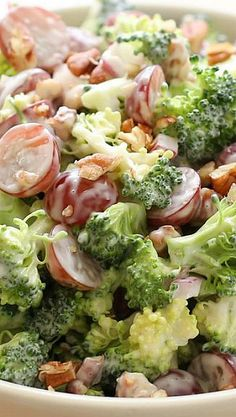 Broccoli Salad with Grapes Recipe ~ Crisp broccoli is combined with sweet, juicy grapes, and crunchy bits of red onion just before being tossed with a tangy, sweet balsamic dressing.