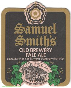 Samuel Smith Old Brewery Pale Ale Coaster Beer Coasters, Brewery, Ale, Ale Beer, Ales, Beer