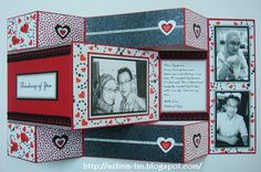 Tri shutter card in red, black and white combination