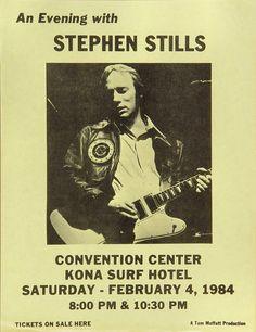 Stephen Stills Handbill Kona Surf Convention Center (Kona, HI) Feb 4, 1984 / Gibson Firebird VII with wraparound bridge