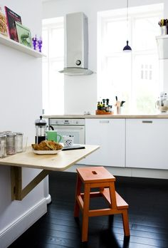 Fold down table & Step stool for eat in kitchen - Popping Up in the Kitchen: The BEKVÄM Step Stool From IKEA Ikea Step Stool, Kitchen Interior, Kitchen Design, Ikea Hack Storage, Ikea Hacks, Ikea Bekvam, Bekvam Stool, Fold Down Table, Home Kitchens