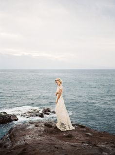 Blush and gold bridal inspiration on the Maui coastline by Juliet Ashley Photography | Wedding Sparrow