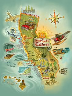"""""""Cali Surf Spots"""" #SurfArt Poster on Canvas by Rick Rietveld. Cali Surf Spots is a wonderful conversation piece featuring 133 of California's great surf breaks, beaches and places to visit. Your friends and family will love to point out their favorite locations and debate over their worthiness."""