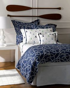Admiral Blue Bedding designed by LULU DK Matouk!  The navy blue backdrop is decorated with a wonderful rope coil in white.  Ahoy from http://www.elegantlinenspc.com/Blue-Bedding.htm