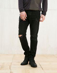 Ripped vintage slim jeans - Slim - Bershka Poland