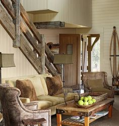 rustic interior design ideas | Choose a stair railing to blend in with architectural details in your ...