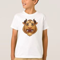 Beauty and the Beast Emoji Beast T-shirt, Kids Unisex, Size: Youth M, White