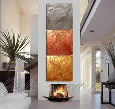 Original painting, Gold Abstract Triptych painting, Huge Art, Large Abstract, Siver, Copper, Gold home and office decor, Julia Apostolova by juliaapostolova. Explore more products on http://juliaapostolova.etsy.com