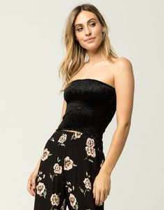 c120954cfef SKY AND SPARROW Smocked Velvet Womens Tube Top - BLACK - 318611100