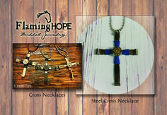 """Bullet Casing Cross, 24"""" ball chain and Swarovski crystal stone necklace by Flaming Hope"""