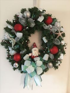Red and silver island Christmas Wreath