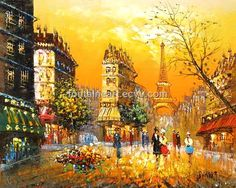Paris street oil painting on canvas, Fontaine Art hand made ...